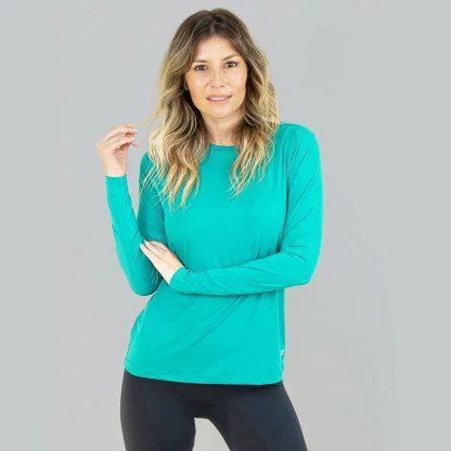 Camiseta UV Pro Feminina Manga Longa com Proteção Solar UV Line Verde Hortelã