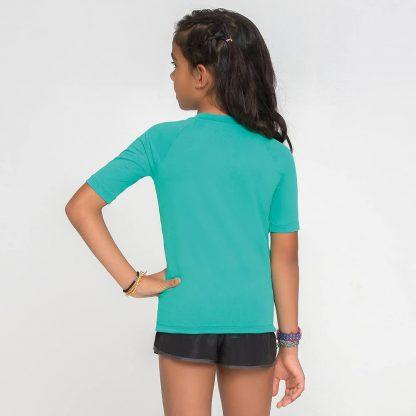 Camiseta UV Pro Infantil Manga Curta com Proteção Solar UV Line Verde Folha