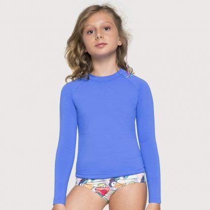 Camiseta UV Pro Infantil Manga Longa com Proteção Solar UV Azul Bic