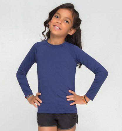 Camiseta UV Pro Infantil Manga Longa com Proteção Solar UV Marinho