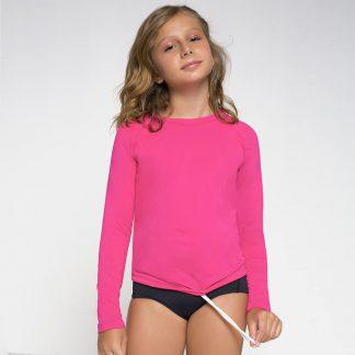 Camiseta UV Pro Infantil Manga Longa com Proteção Solar UV Line Pink