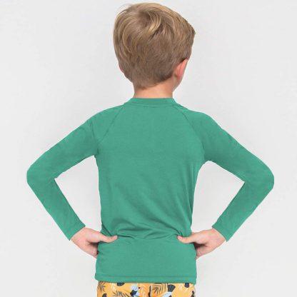 Camiseta UV Pro Infantil Manga Longa com Proteção Solar UV Verde Folha