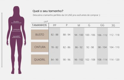Tabela Camiseta Feminina UV Line